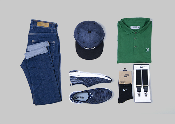 پیشنهاد ست تابستانه مردانه سال ست، شلوار جین مردانه، کفش ورزشی مردانه، کلاه اسپرت، جوراب نیم ساق، ساسپندر، پولوشرت مردانه