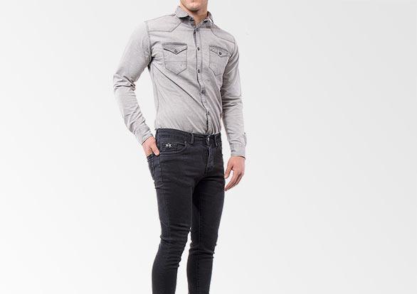 ست شلوار جین و پیراهن جین ذغالی