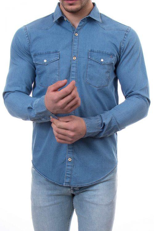 پیراهن جین مردانه دو جیب River Island