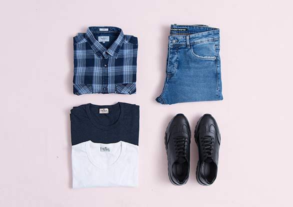 ست اسپرت شلوار جین تیشرت و پیراهن