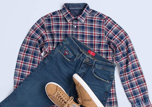 ست اسپرت مردانه شلوار جین و پیراهن چهار خانه