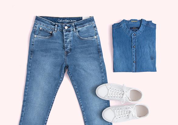 ست اسپرت شلوار جین و پیراهن جین مردانه