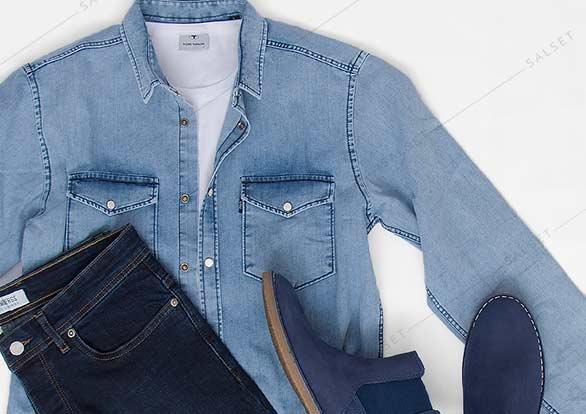ست اسپرت شلوار جین مردانه و پیراهن جین مردانه