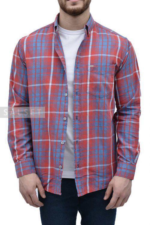 پیراهن مردانه چهارخانه POLO قرمز مدل کلاسیک