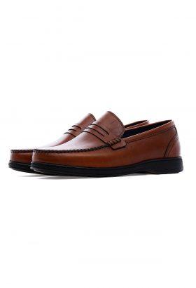 کفش کالج مردانه چرم طبیعی Shanel قهوهای 648