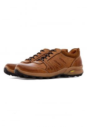 کفش راحتی مردانه چرم طبیعی CAT قهوهای روشن 638