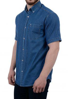 پیراهن جین آستین کوتاه مردانه POLO آبی 1848