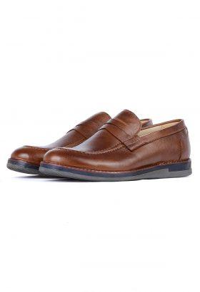 کفش کالج مردانه چرم طبیعی W.M قهوهای 663