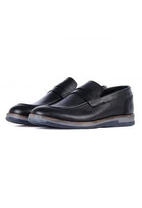 کفش کالج مردانه چرم طبیعی W.M مشکی 664