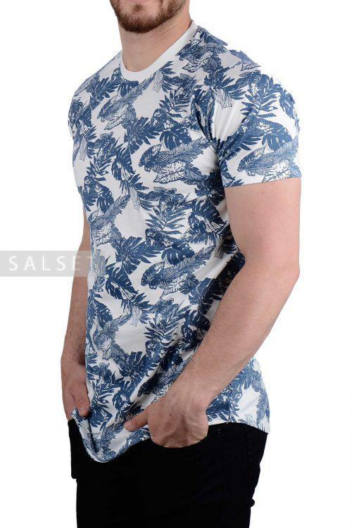 تیشرت مردانه طرح دار نیم لانگ آبی 1930