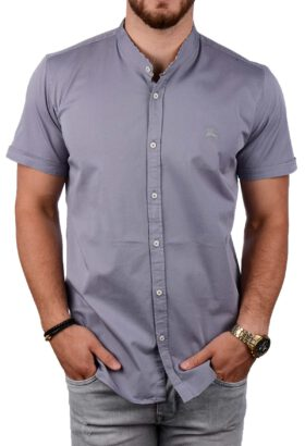 پیراهن آستین کوتاه مردانه Burberry طوسی 2087
