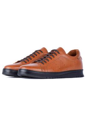 کفش روزمره مردانه چرم طبیعی Bugatti قهوهای روشن 698