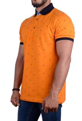 پولوشرت مردانه طرح دار نارنجی 2184