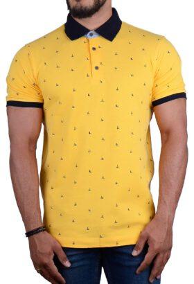 پولوشرت مردانه طرح دار زرد 2185