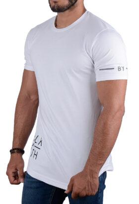 تیشرت مردانه طرح دار سفید 2207