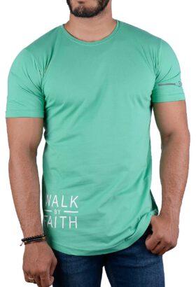 تیشرت مردانه طرح دار سبز 2205