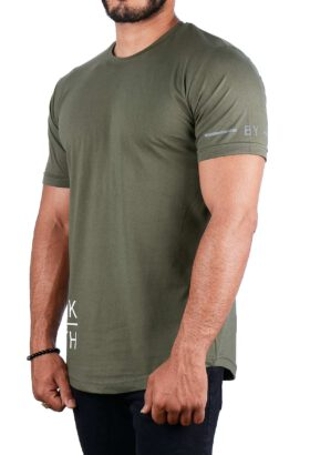 تیشرت مردانه طرح دار زیتونی 2206