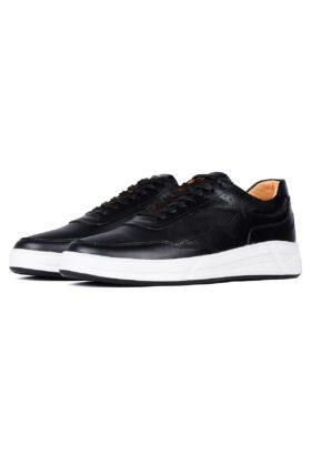 کفش روزمره مردانه چرم طبیعی Veniz مشکی