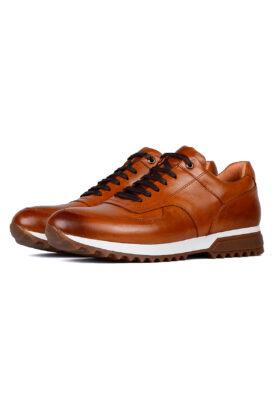 کفش روزمره مردانه چرم طبیعی قهوهای روشن
