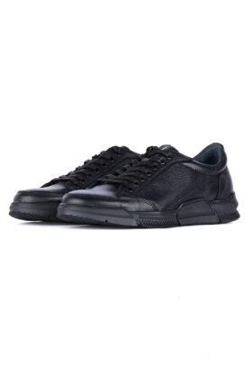 کفش روزمره مردانه چرم طبیعی مشکی 742